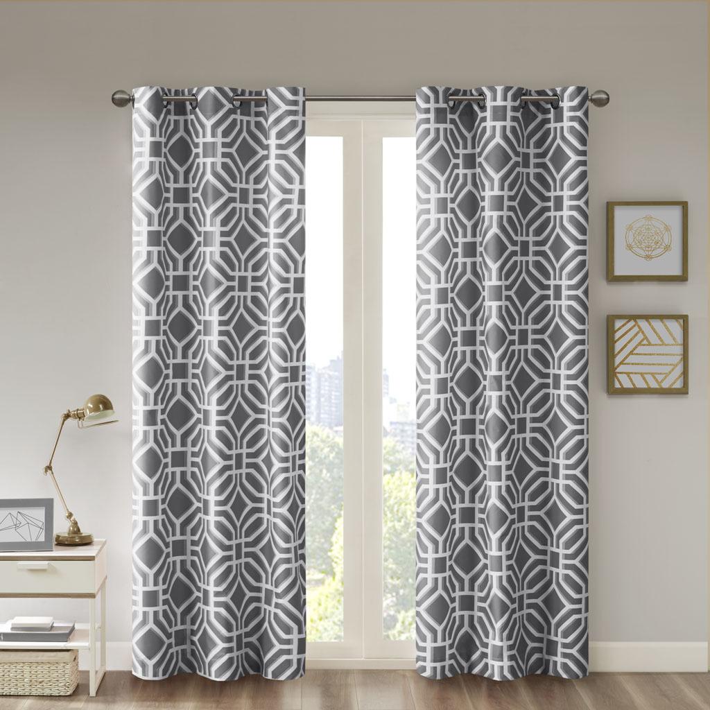 "Intelligent Design - Maci Window Curtain - Grey - 84"" Panel"