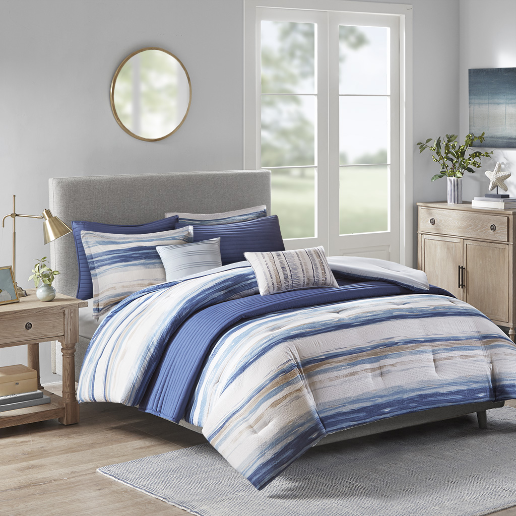 Madison Park - Marina 8 Piece Printed Seersucker Comforter and Coverlet Set Collection - Blue - Full/Queen