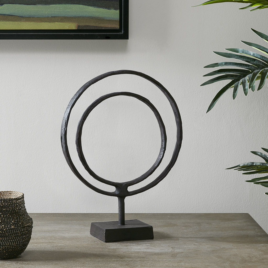 Madison Park - Mara Ring Object Decor - Black - Medium Material: Aluminum