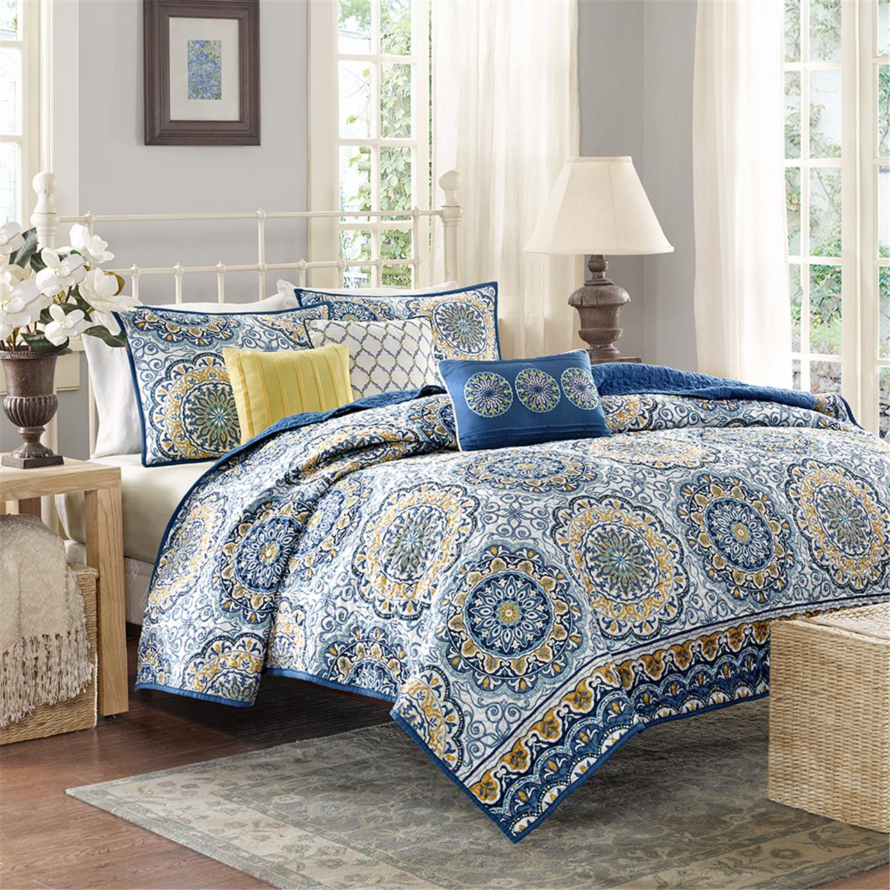 Madison Park - Tangiers 6 Piece Reversible Coverlet Set - Blue - King/Cal King