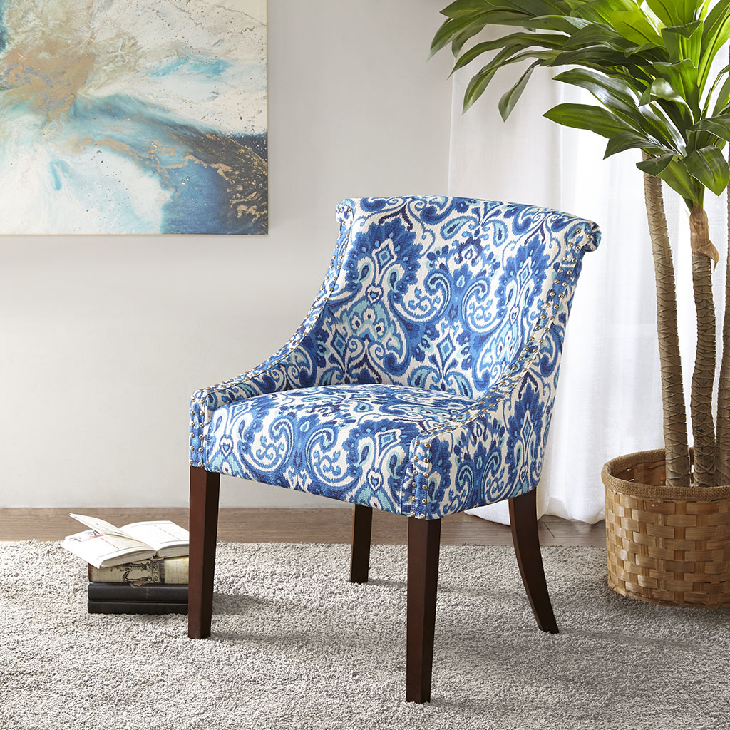 Madison Park - Caitlyn Roll Back Accent Chair - Blue/White - See below