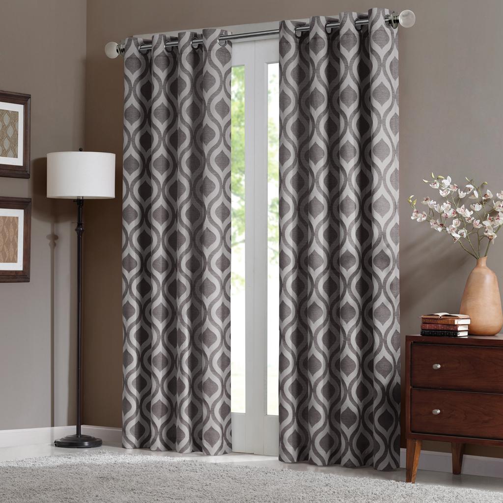 "Madison Park - Verona Window Curtain - Grey - 84"" Panel"