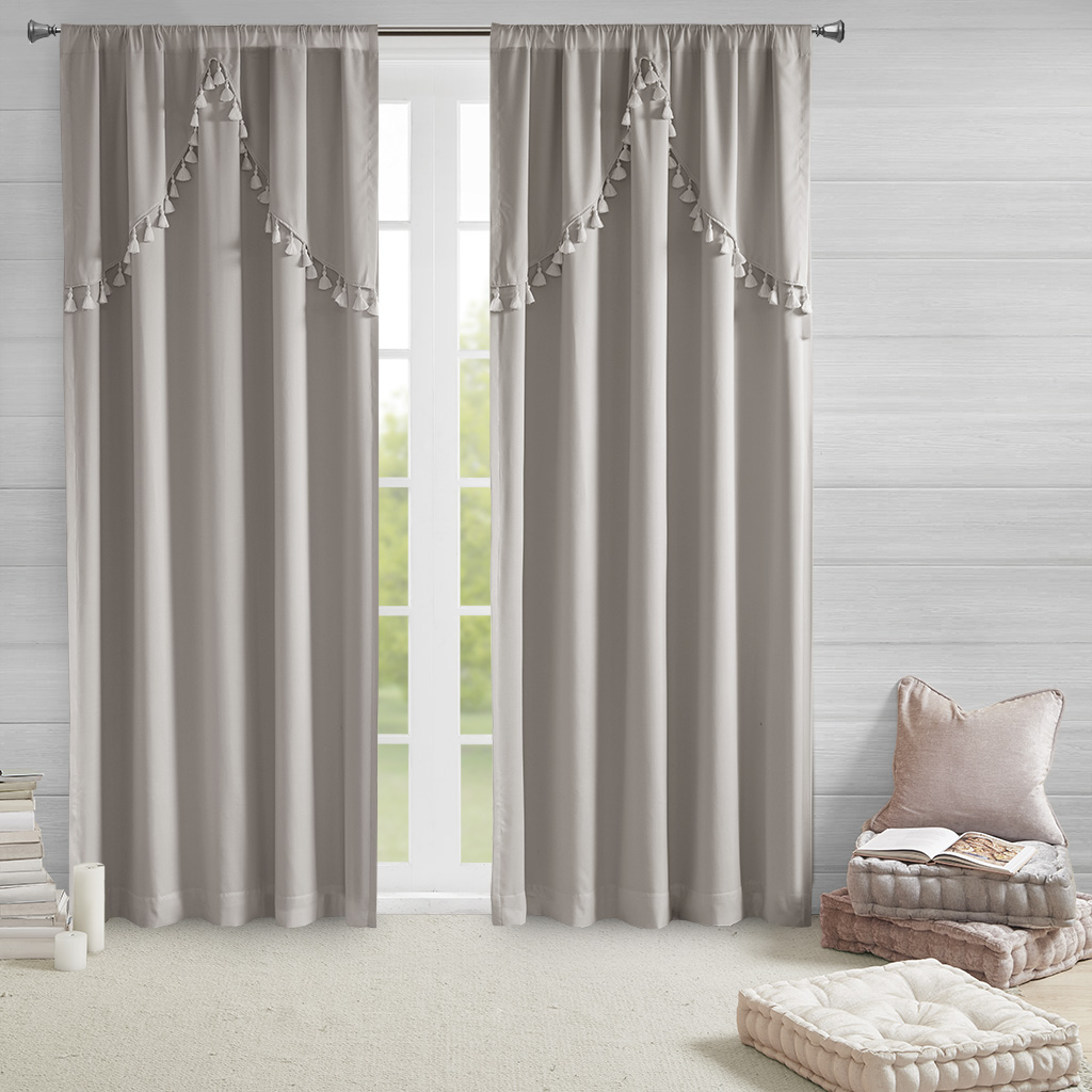 Intelligent Design - Esther 100% Total Blackout Panel with Attached Scallop Tassel Valance - Grey - 50x63