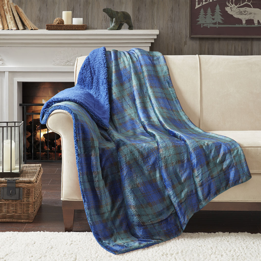True North by Sleep Philosophy - Cozy Plush to Berber Throw - Navy/Green - 50x60