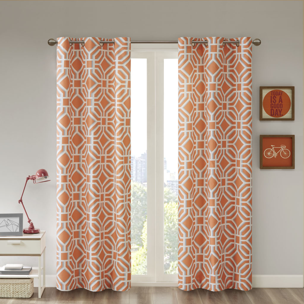 "Intelligent Design - Maci Window Curtain - Orange - 63"" Panel"