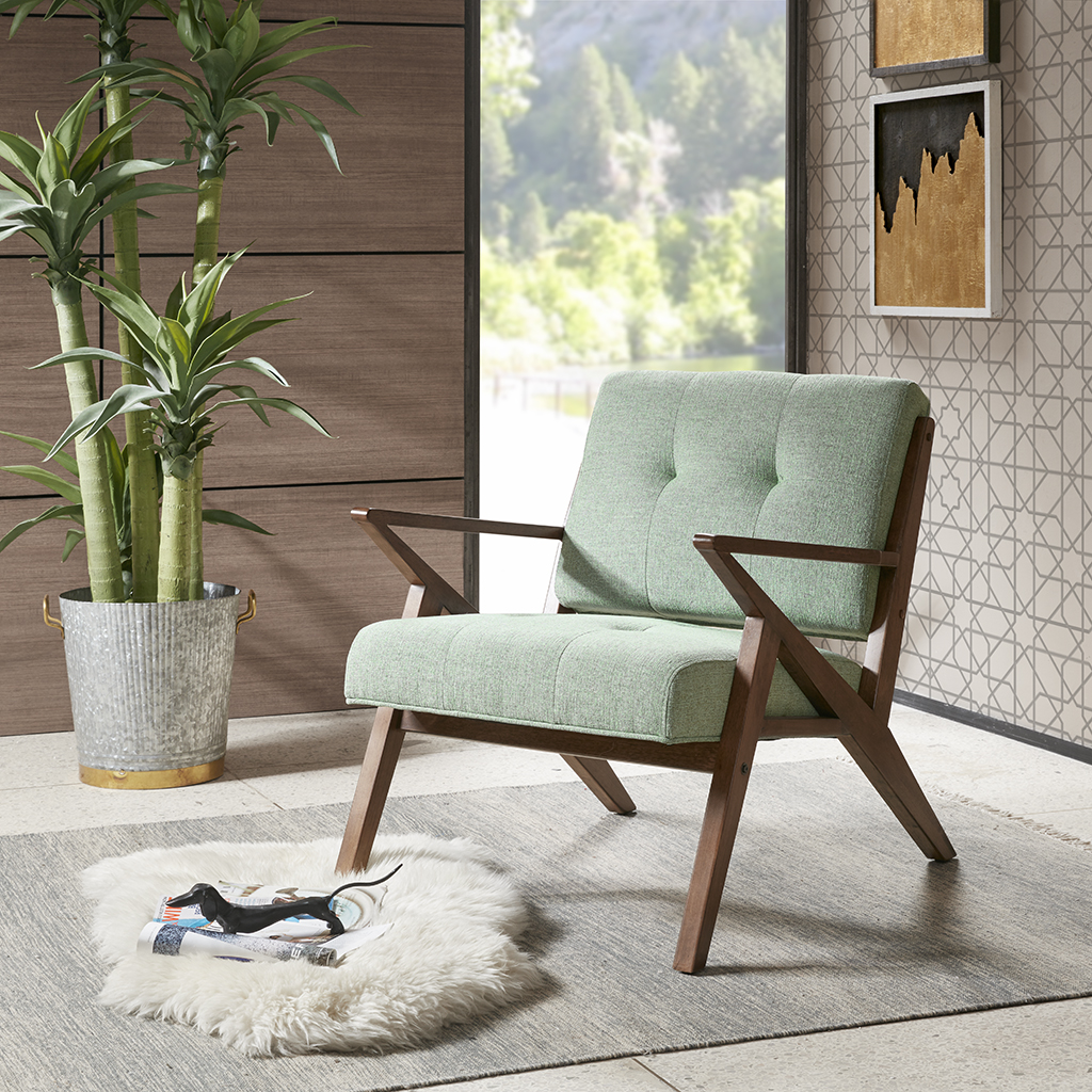 INK+IVY - Rocket Lounge - Seafoam - See below 100%Polyester,Rubber Solid Wood + Upholstery,all foam