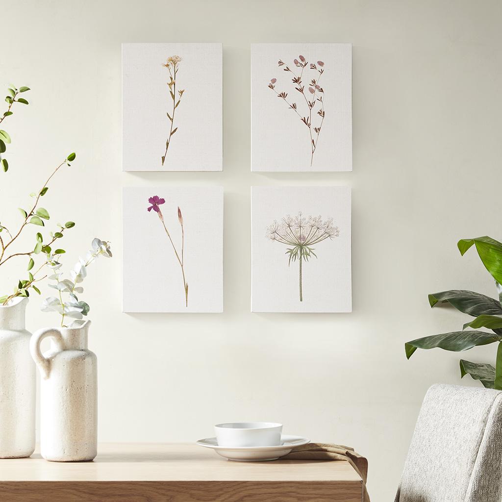 Madison Park - Petite Floral Printed Linen Oblong Canvas 4 Piece Set - Linen - See below