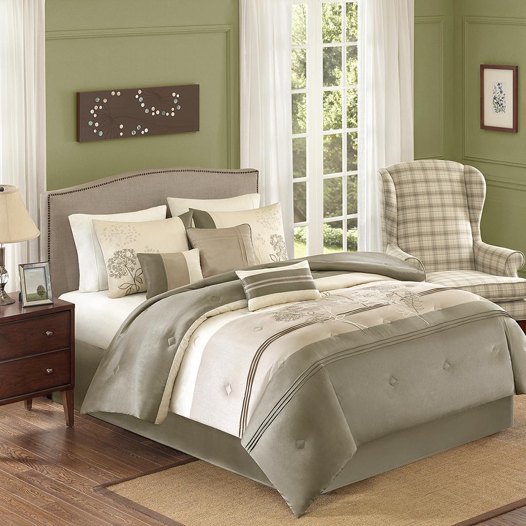 Avenue 8 - BHG Jelissa 7 Piece Comforter Set - Taupe - Full