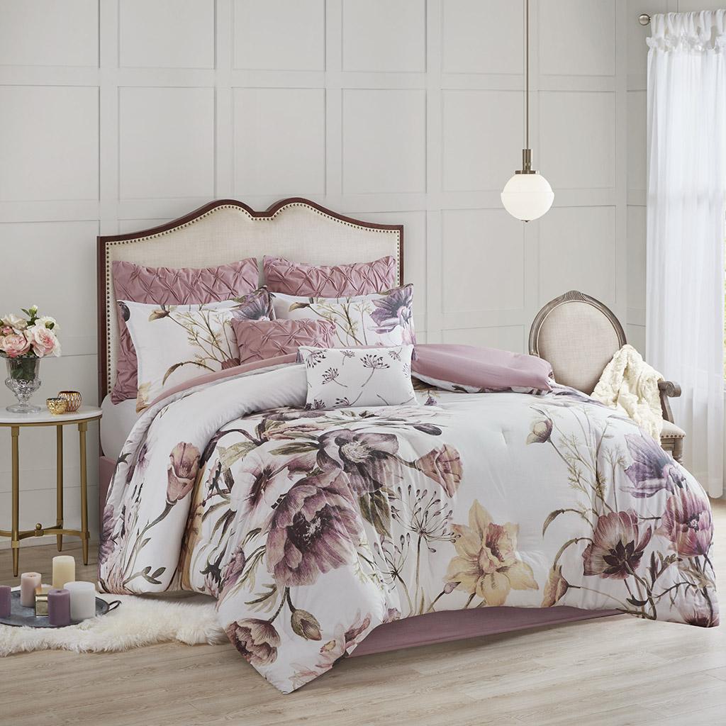 Madison Park - Cassandra 8 Piece Cotton Printed Comforter Set - Blush - Queen