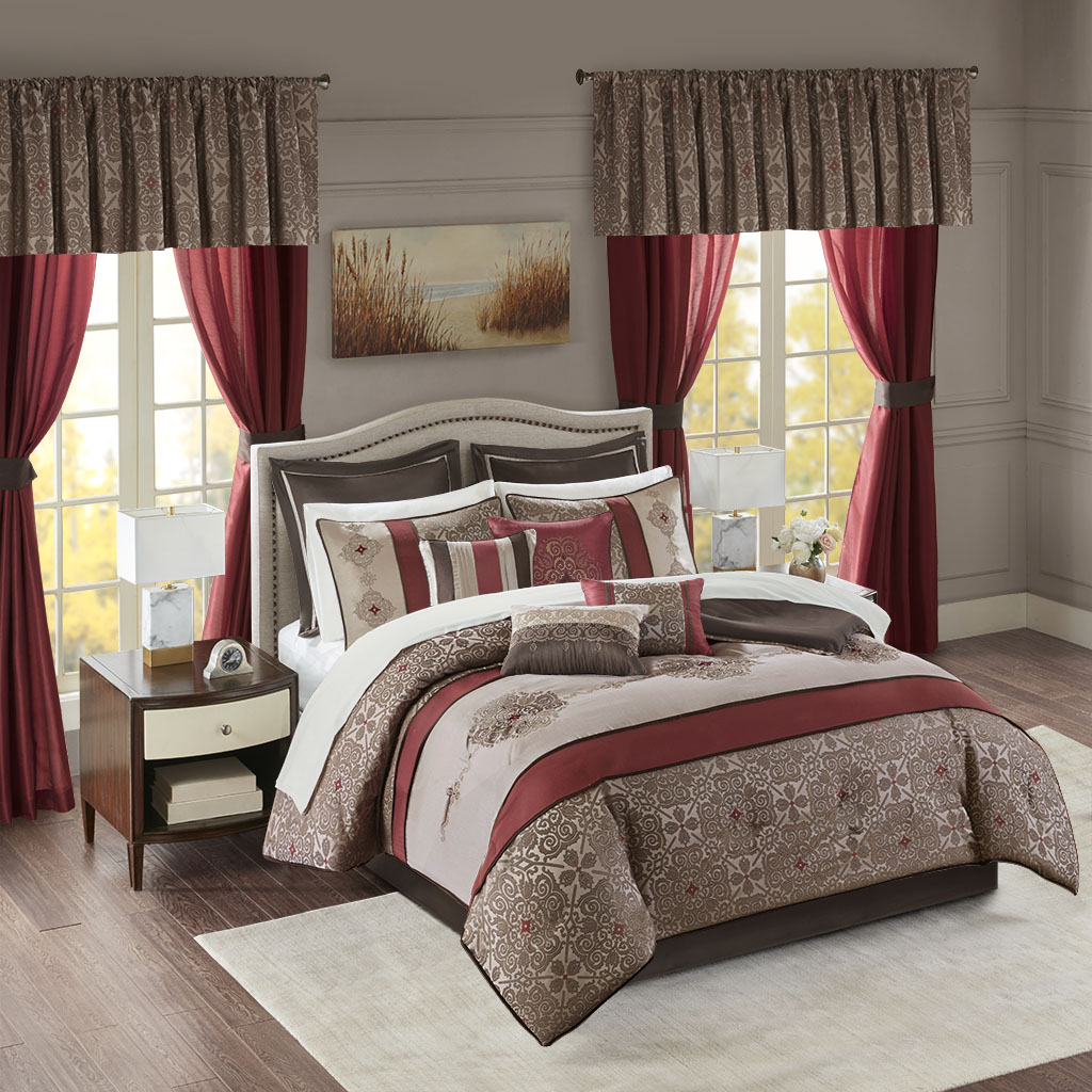 Madison Park Essentials - Delaney 24 Piece Room In a Bag - Red - Cal King