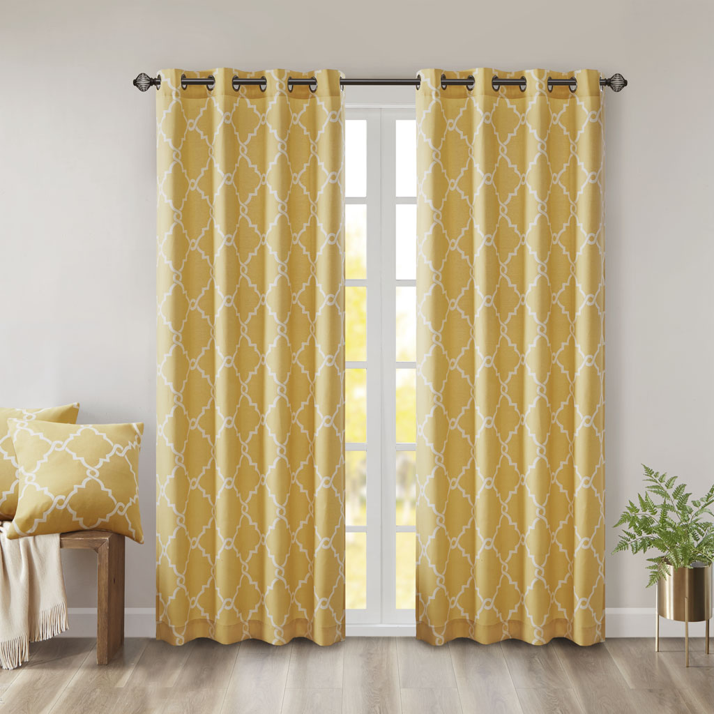 "Madison Park - Saratoga Fretwork Print Grommet Top Window Curtain - Yellow - 84"" Panel"