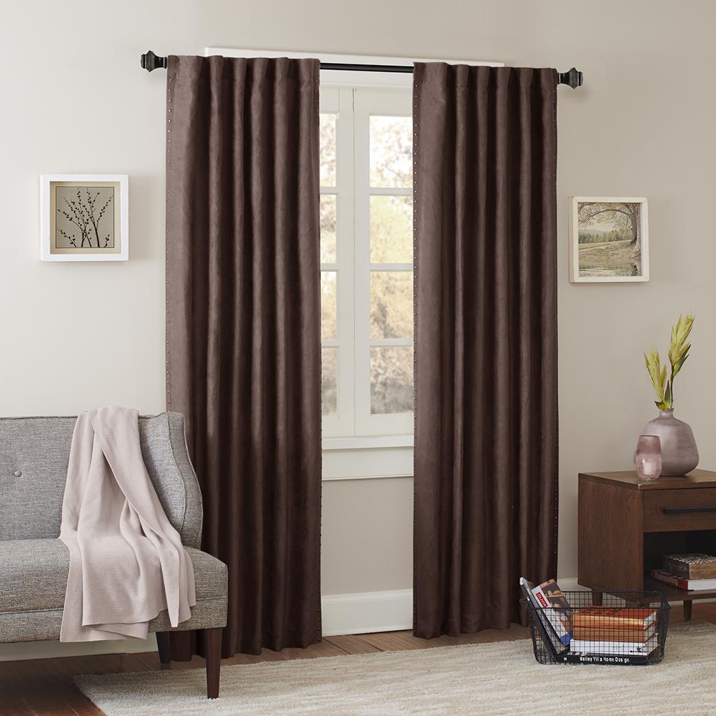 "Madison Park - Alban Stud Trim Microsuede Window Curtain - Brown - 63"" Panel"