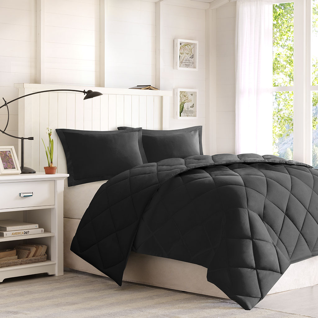 Madison Park Essentials - Larkspur 3M Scotchgard Diamond Quilting Reversible Down Alternative Comforter Set - Black/Black - Full/Queen