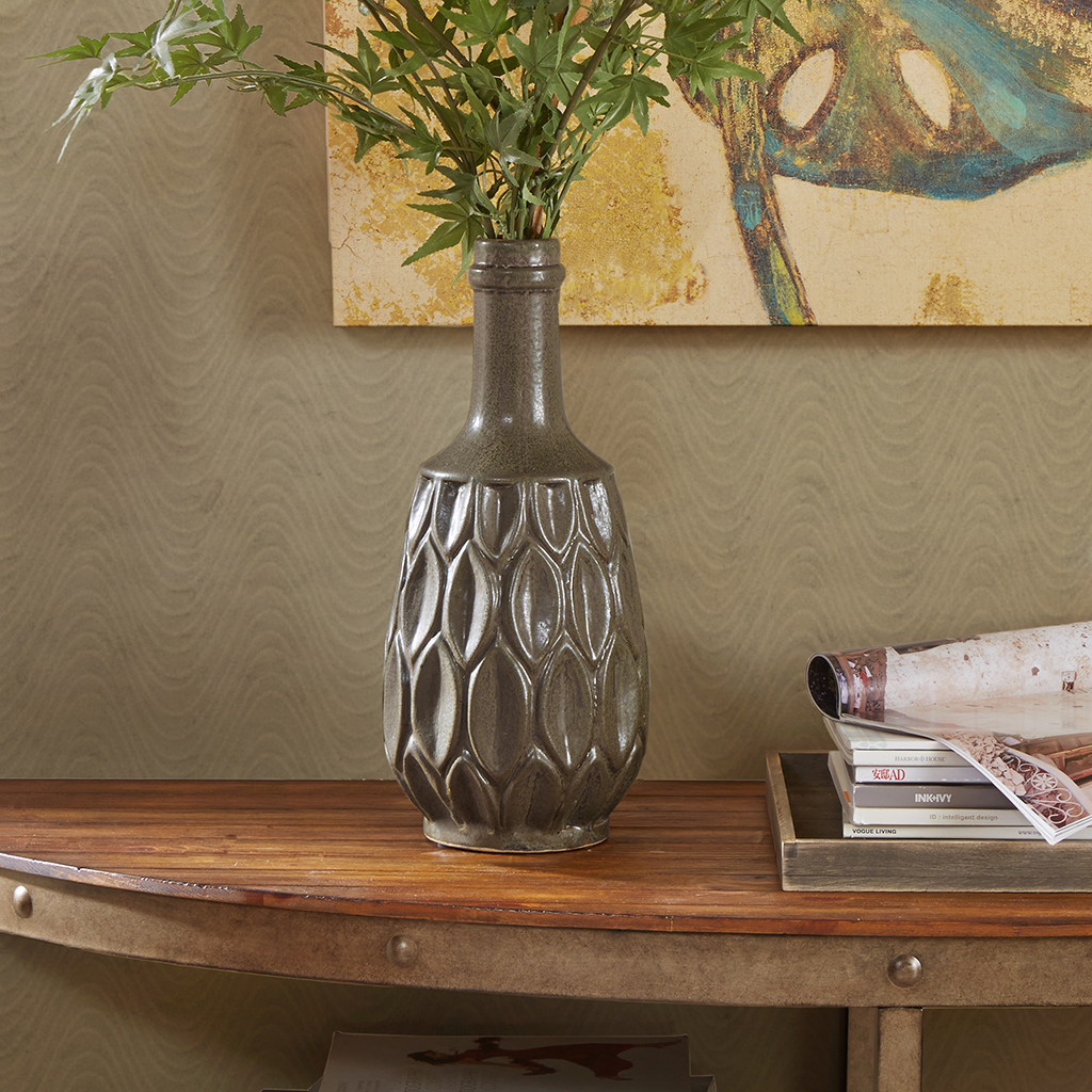 INK+IVY - Teigan Decorative Craftsman Vase - Brown - Small
