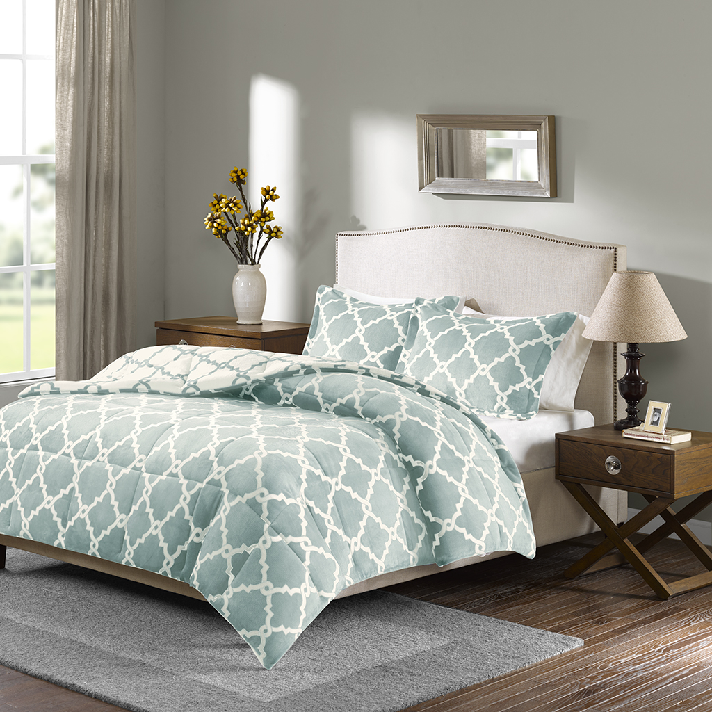 True North by Sleep Philosophy - Peyton Reversible Plush Comforter Mini Set - Aqua - Full/Queen