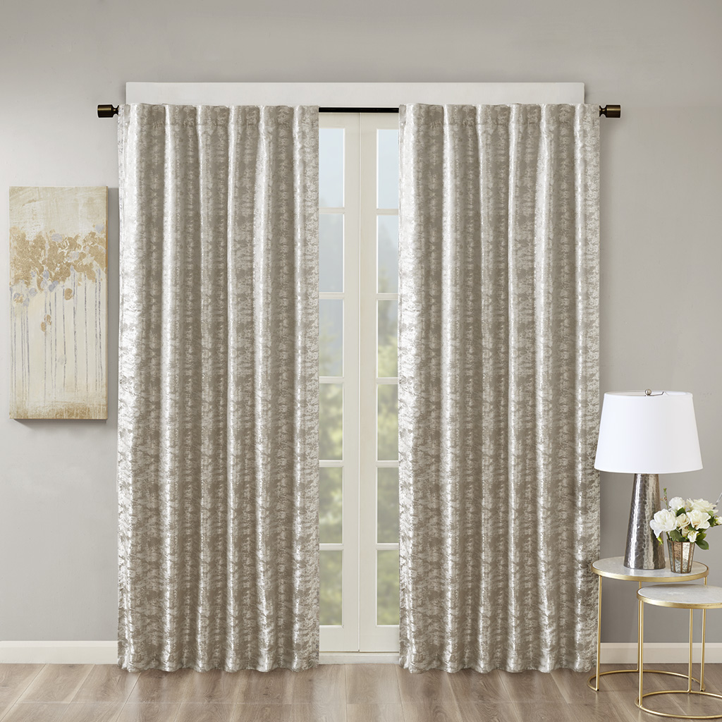SunSmart - Cassius Marble Jacquard Total Blackout Rod Pocket/Back Tab Curtain Panel - Grey/Silver - 50x108