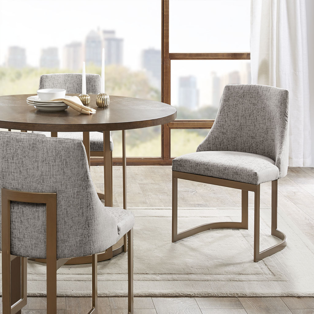 Frame Composition: Metal  Leg Material: Metal  Fabric Composition: 100% Polyester  Cushion or Upholstery Fill Material: Foam   Metal Finish: Antique Gold color