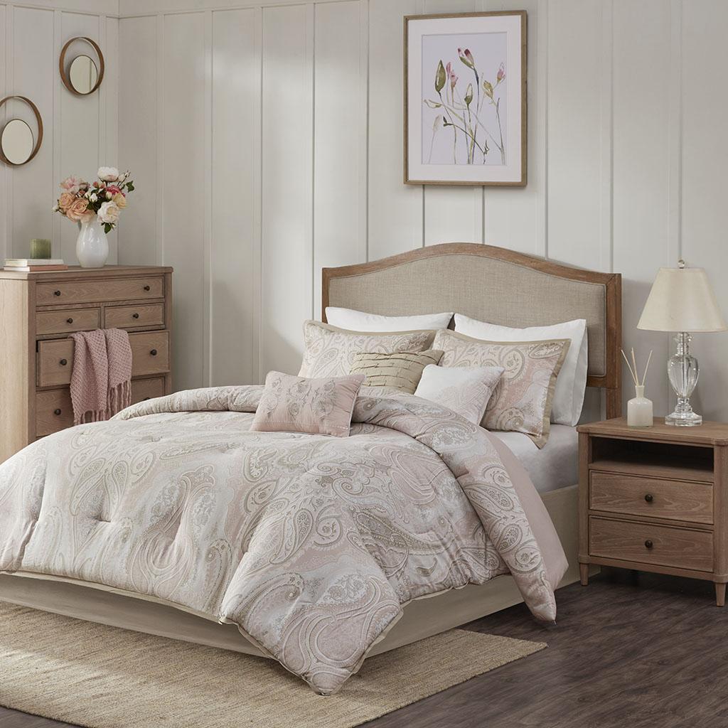 Madison Park - Samir 7 Piece Cotton Printed Comforter Set - Blush - King