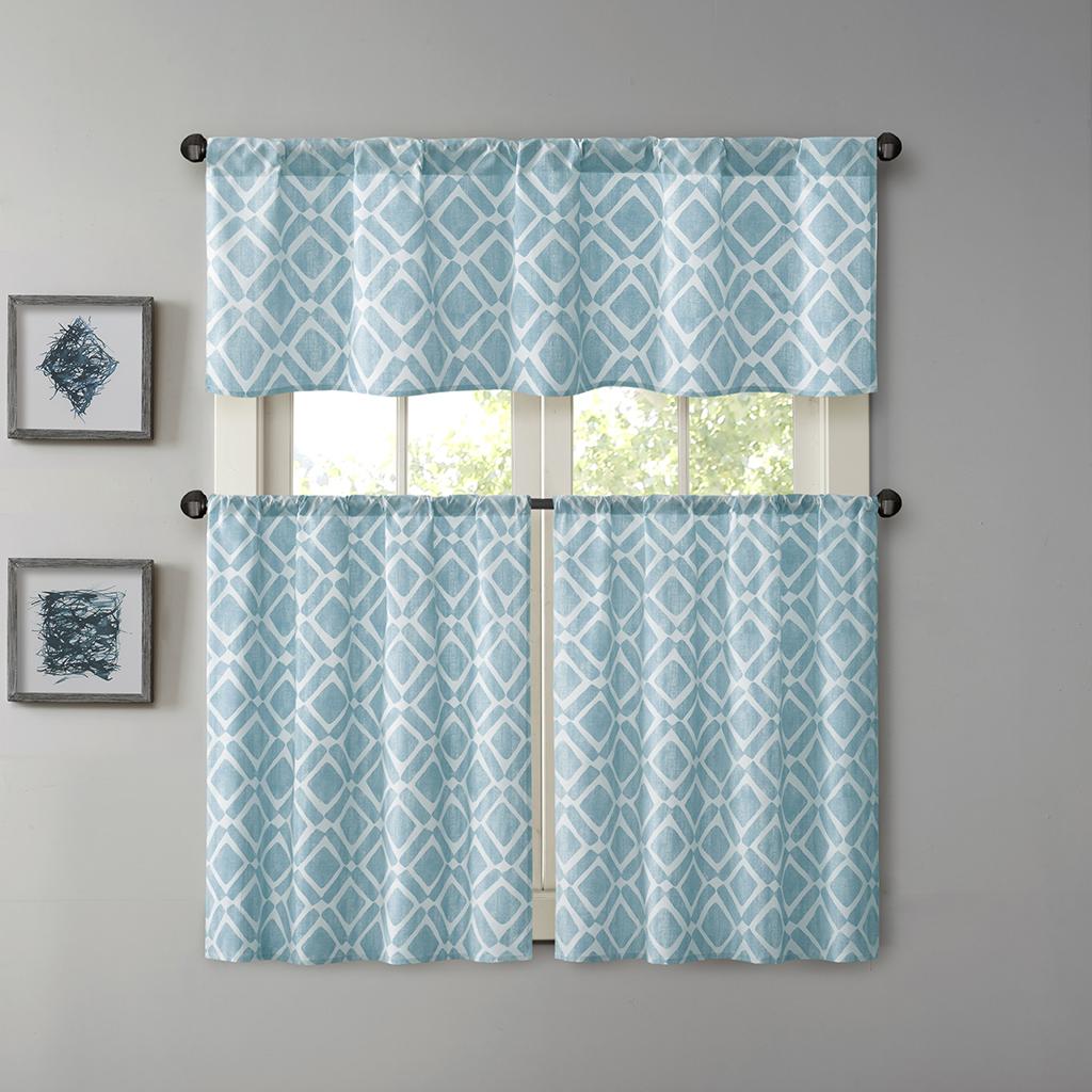 Madison Park - Delray Poly Cotton Twill Printed Diamond Kitchen Tier Set - Blue - 30x24