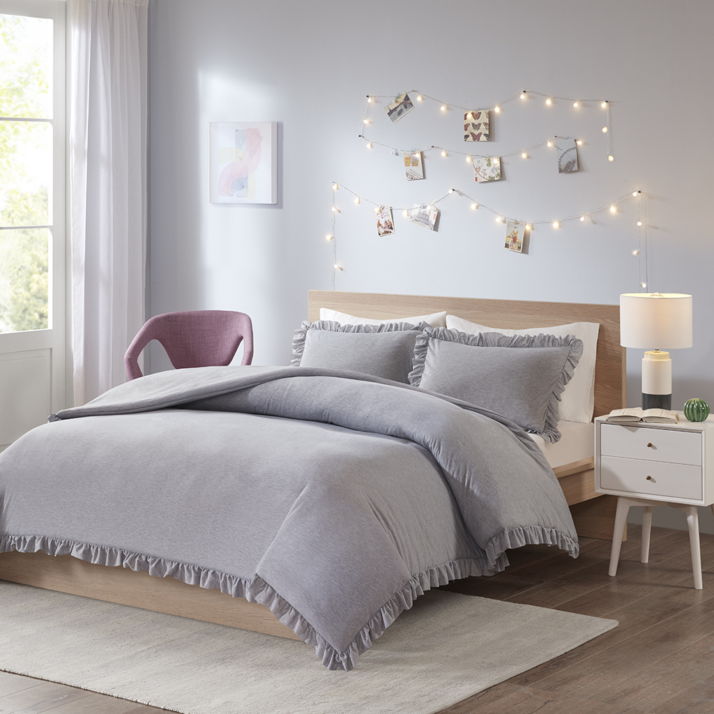 Intelligent Design - Stacey Jersey Knit with Ruffles Duvet Cover Set - Grey - Full/Queen