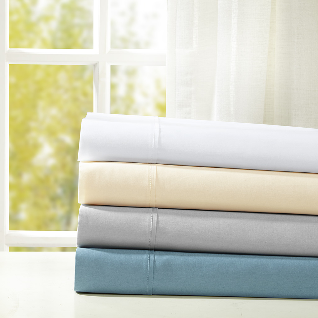 Sleep Philosophy - Snug Grip 300 Thread Count Cotton Sateen Sheet Set - White - King