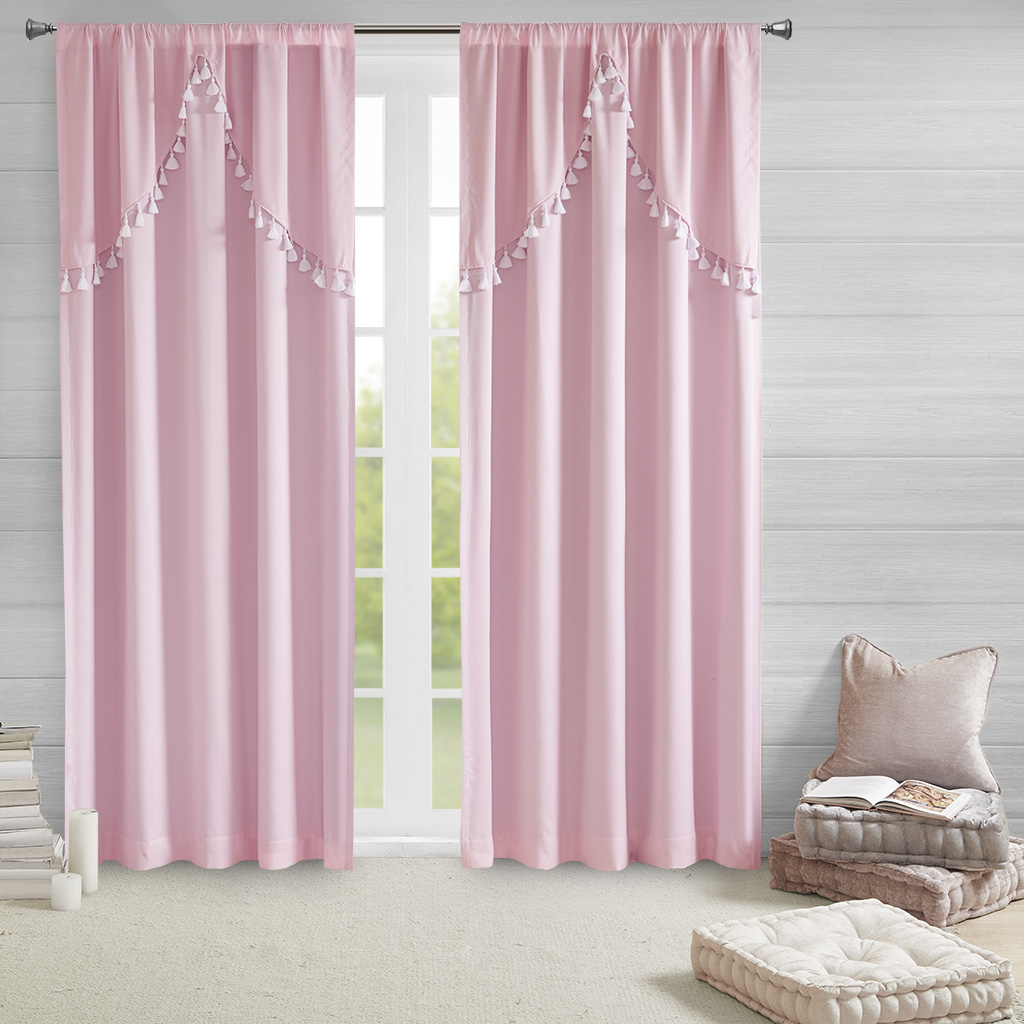 Intelligent Design - Esther 100% Total Blackout Panel with Attached Scallop Tassel Valance - Pink - 50x84