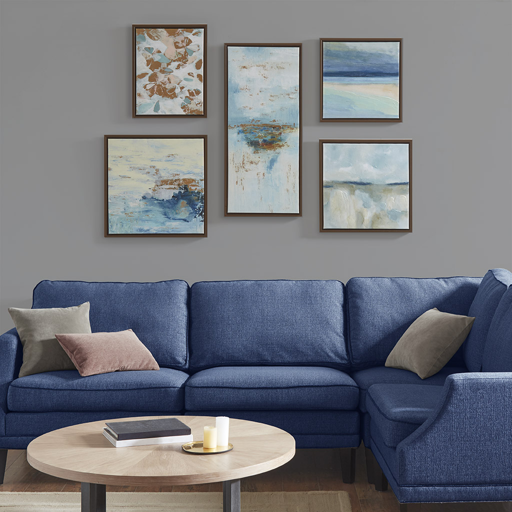 Madison Park - Blue Horizon Gallery Art 5 Piece Set with Bronze Frame - Blue Multi - See below