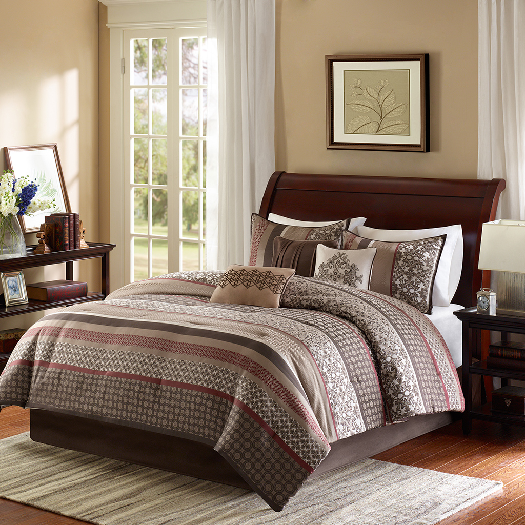 Madison Park - Princeton 7 Piece Jacquard Comforter Set - Red - King