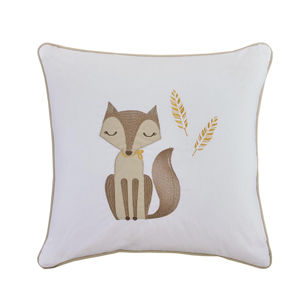 HipStyle - Bashful Vixie Fox Embroidered Cotton Square Pillow - Khaki - 20x20