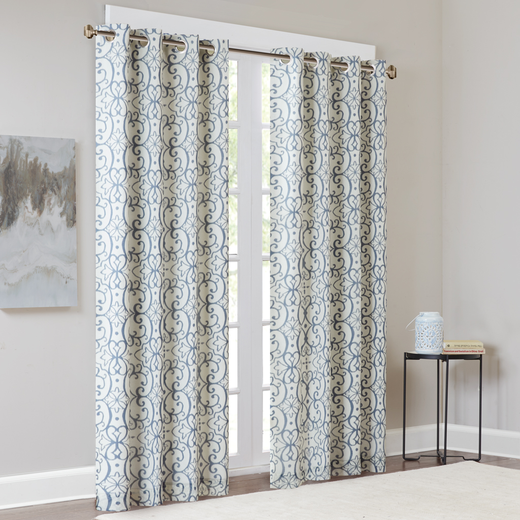 """Madison Park - Farrah Printed Window Panel with Blackout Lining - Blue - 95"""" Panel"""