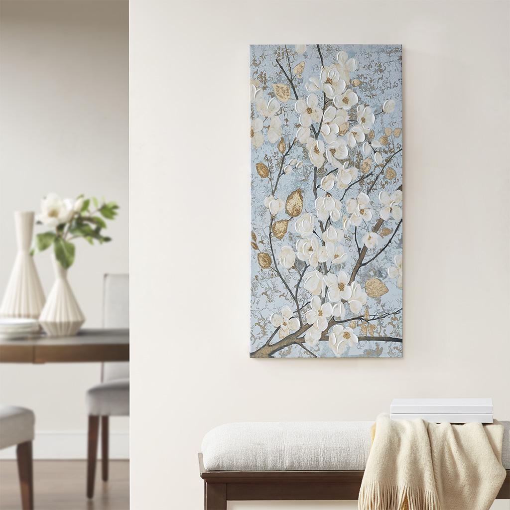 Madison Park - Luminous Bloom Gold Foil Floral Hand Embellished Canvas Art - Blue - See below