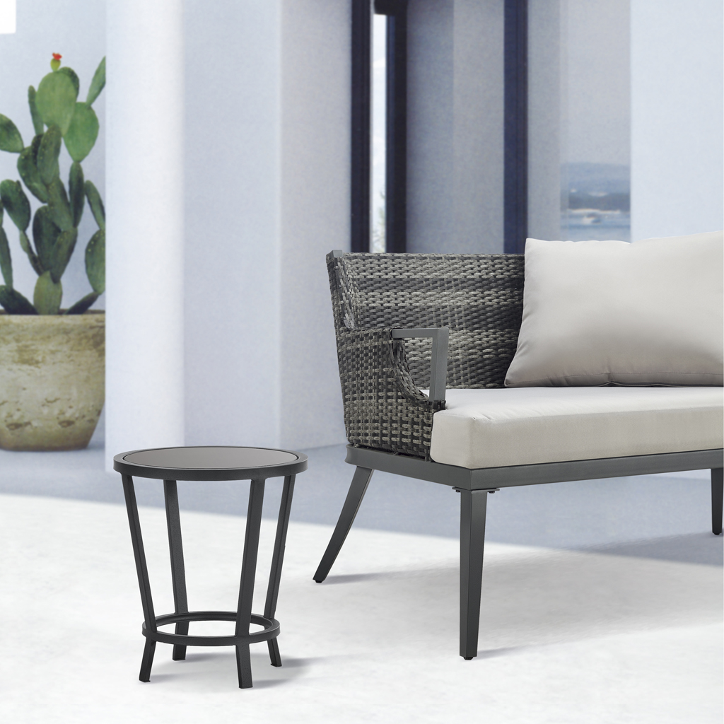 Madison Park - Baxton Black Patio Accent Table - Black - See below