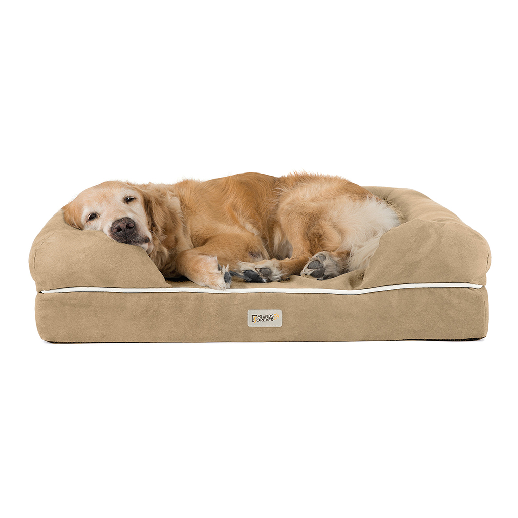 Friends Forever - Chester Pet Couch with Solid Memory Foam - Khaki - 44x34+10