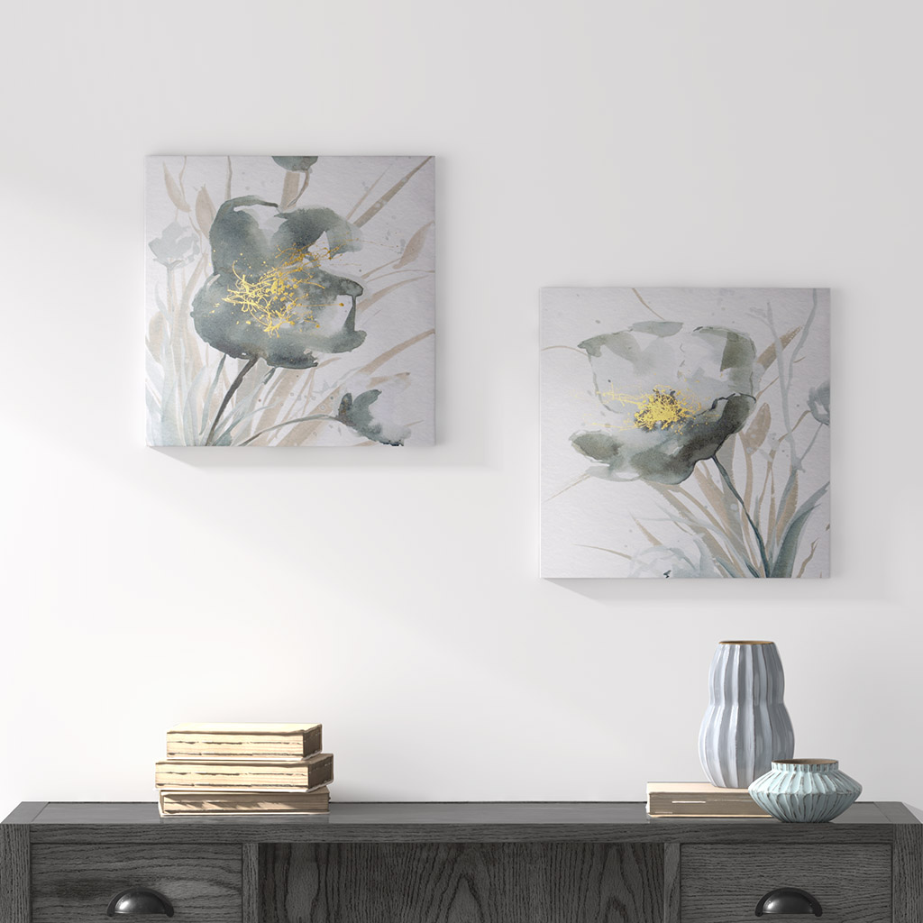 Madison Park - Ombre Grey Floret Printed Canvas with Gold Foil Embellishments 2 Piece Set - Grey - See below