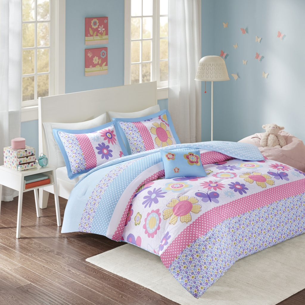 Comfort Spaces - Happy Daisy Comforter Set - Blue - Twin