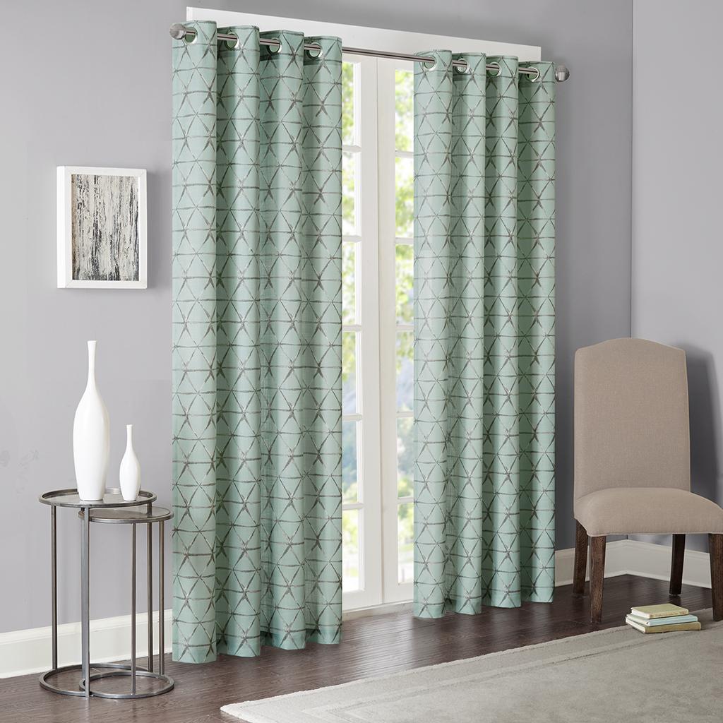 """Madison Park - Ellis Printed Window Curtain - Blue - 63"""" Panel"""