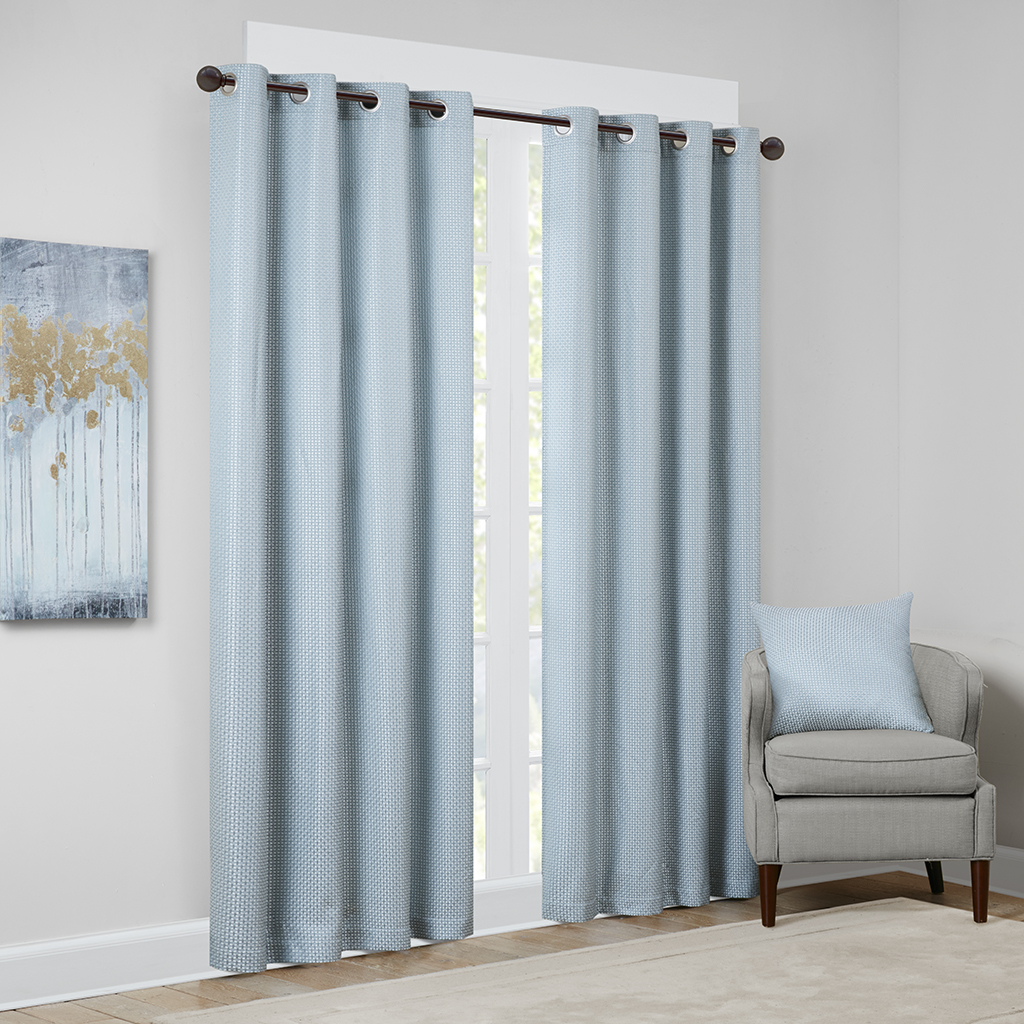 "Madison Park - Jhene Textural Jacquard Window Panel - Aqua - 84"" Panel"