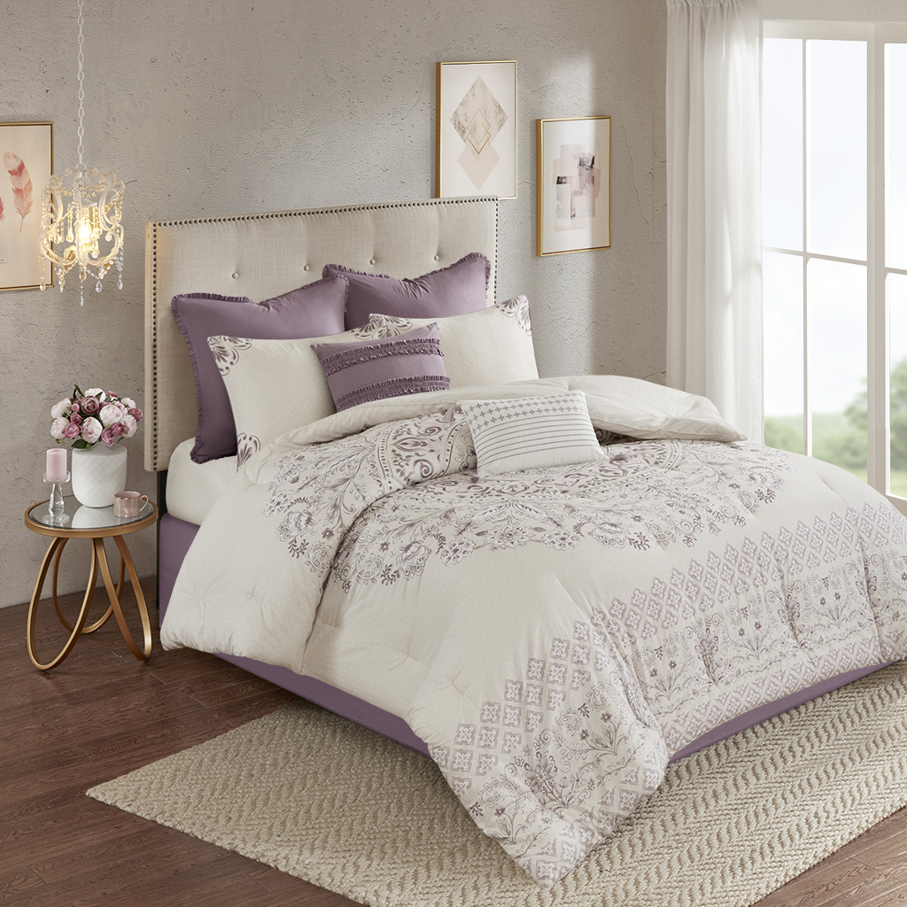 Madison Park - Elise 8 Piece Cotton Printed Reversible Comforter Set - Purple - King