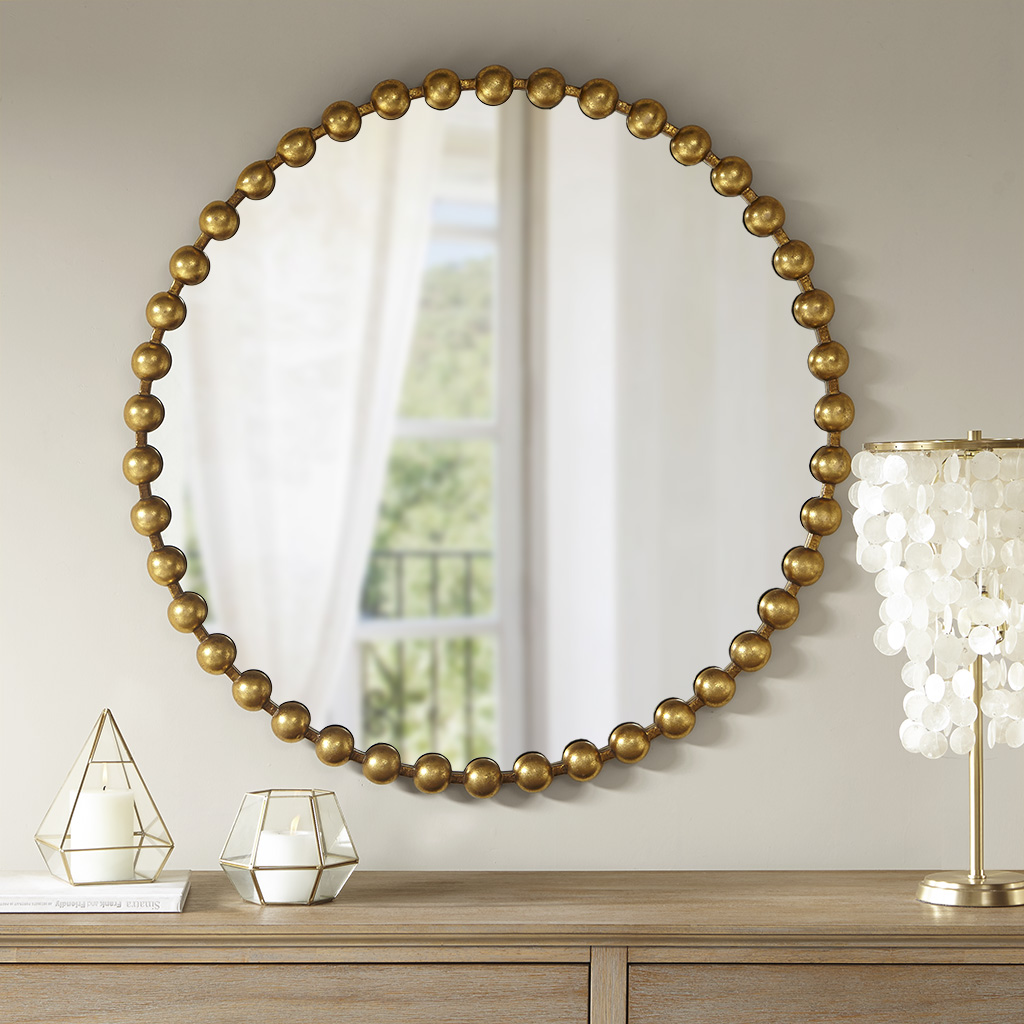 Material: Iron Frame, Mirror Cover, MDF Backing  Iron Finish: Gold Foiled  MDF Finish: Black Painted