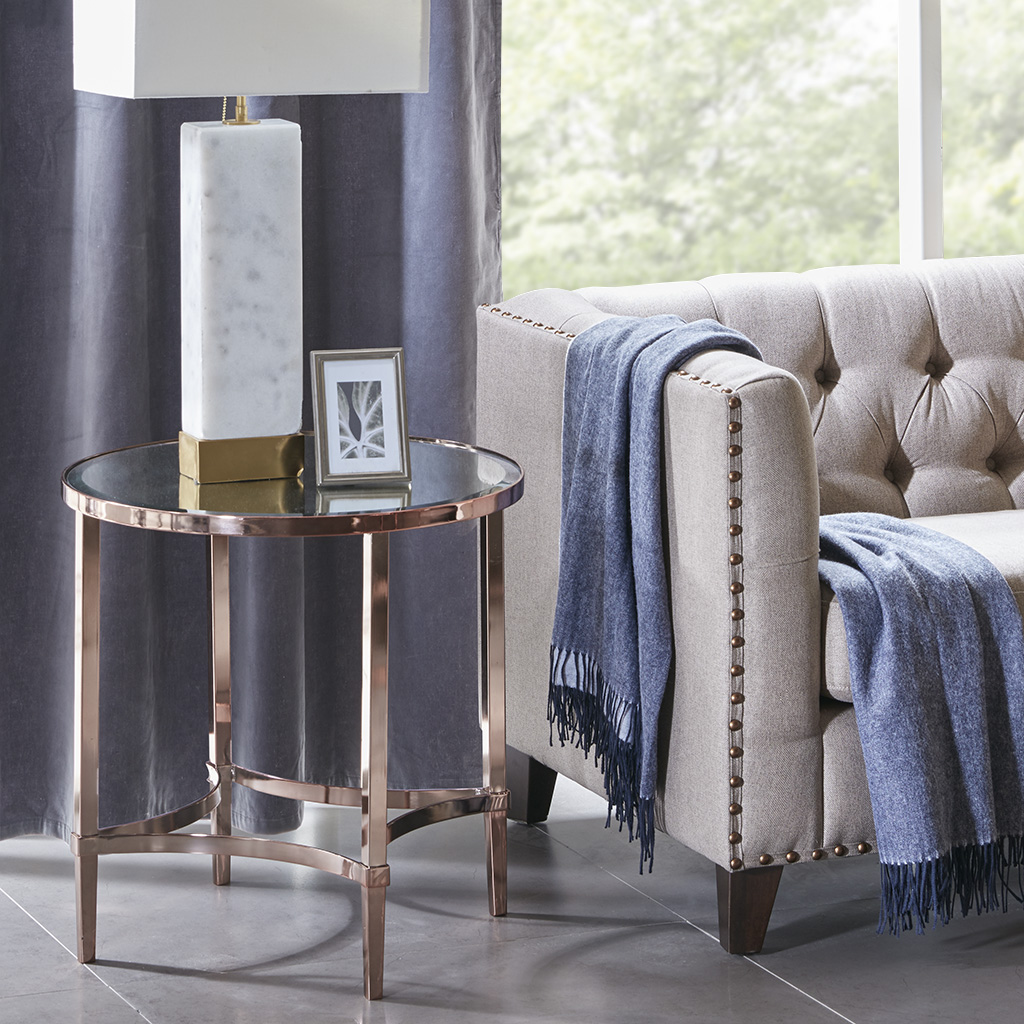 Madison Park Signature - Triton Round End Table - Rose gold - See below