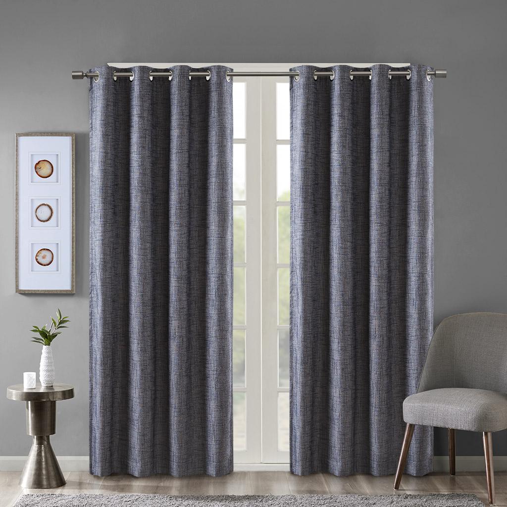 SunSmart - Maya Printed Heathered Blackout Grommet Top Curtain Panel - Navy - 50x63
