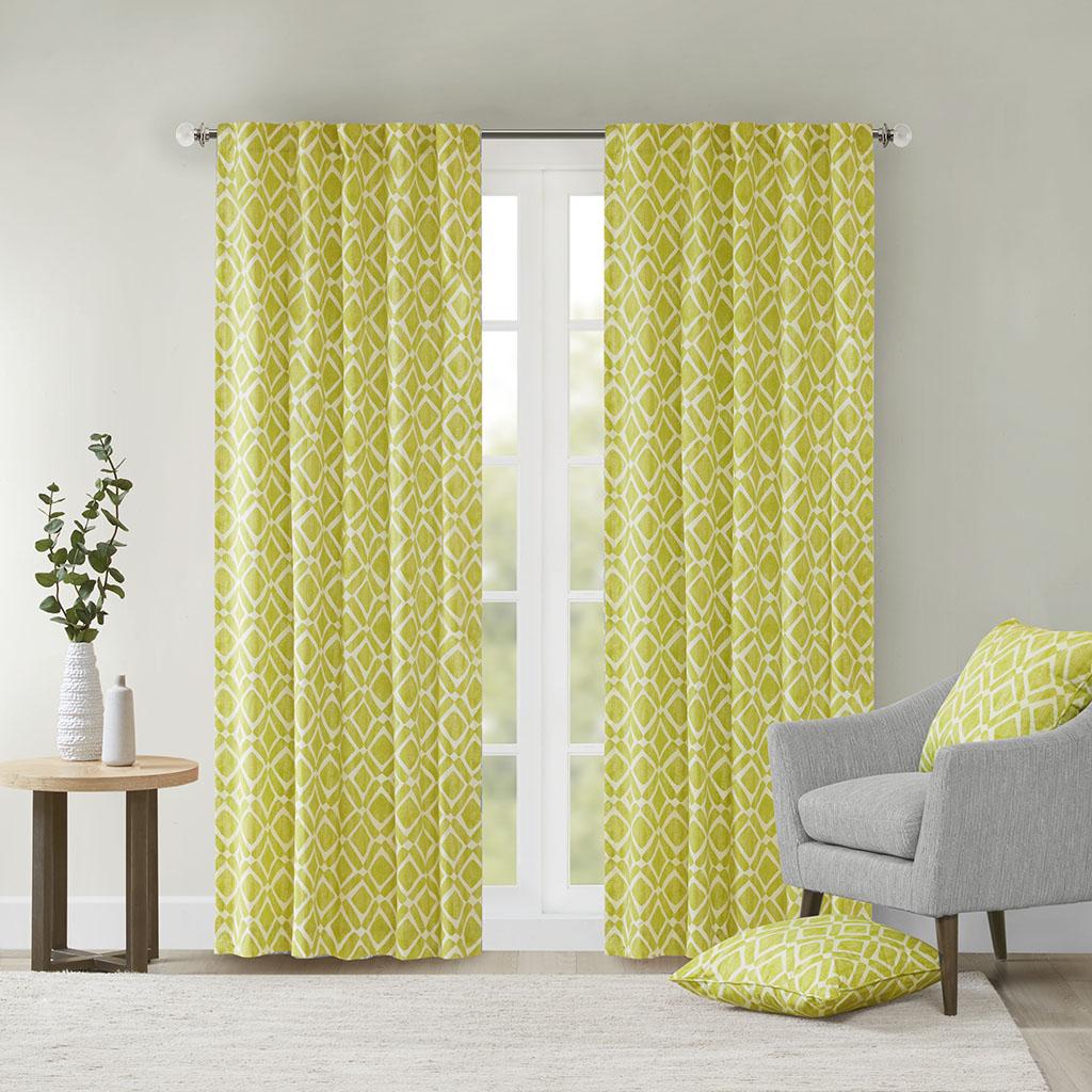 "Madison Park - Delray Diamond Window Curtain - Green - 63"" Panel"