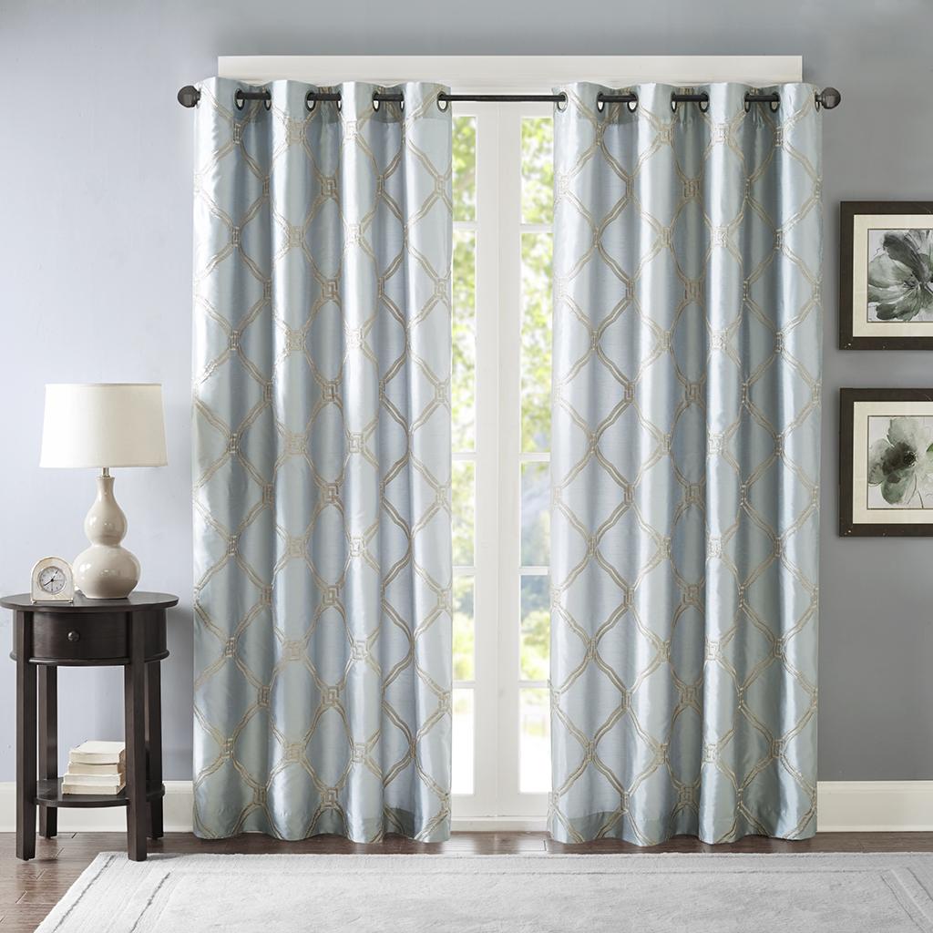 "Bombay - Teramo Embroidered Polyoni Window Curtain - Blue - 84"" Panel"