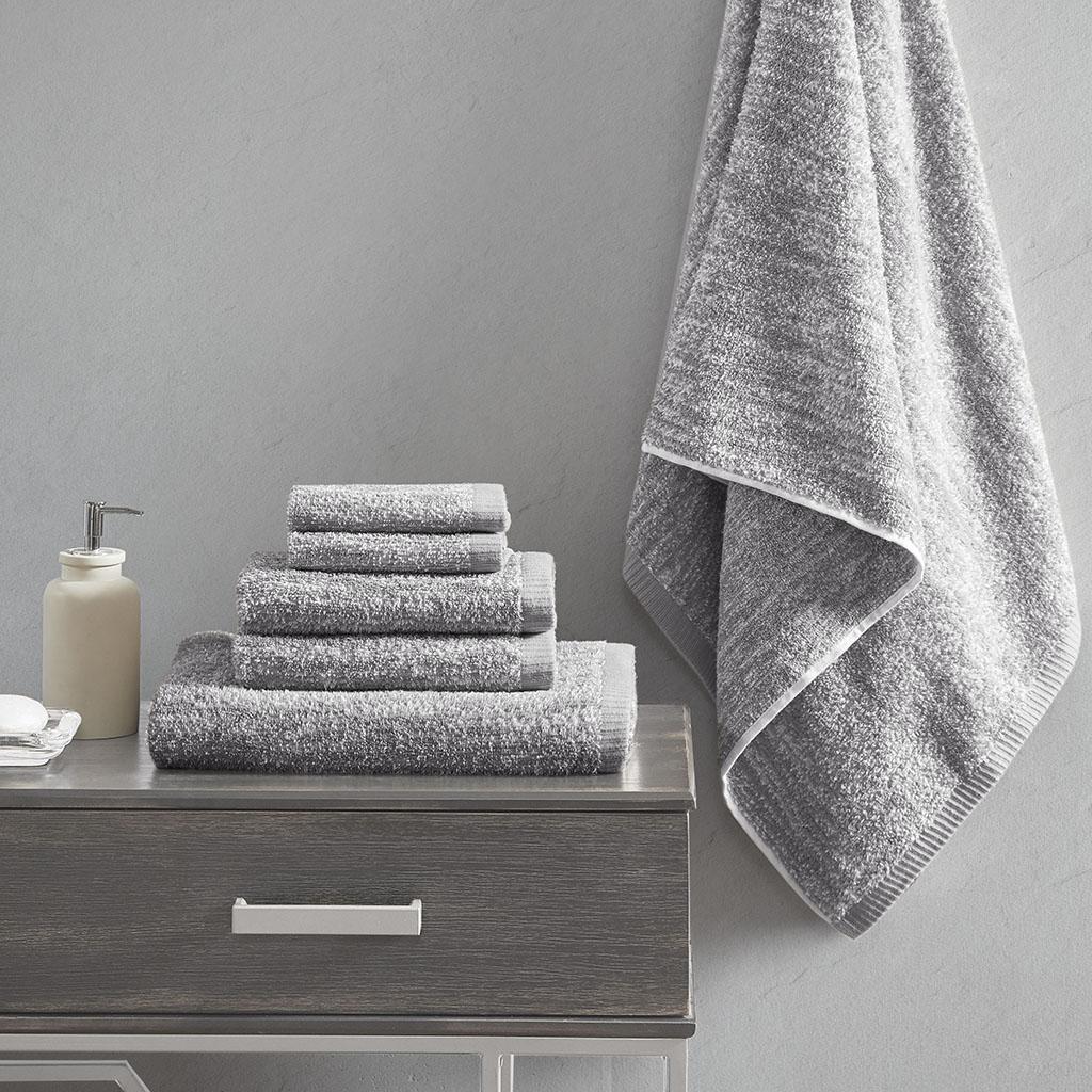 Madison Park Signature - Melange 100% Turkish Cotton Intermingle Jacquard 6 Piece Towel Set - Grey - 28x54