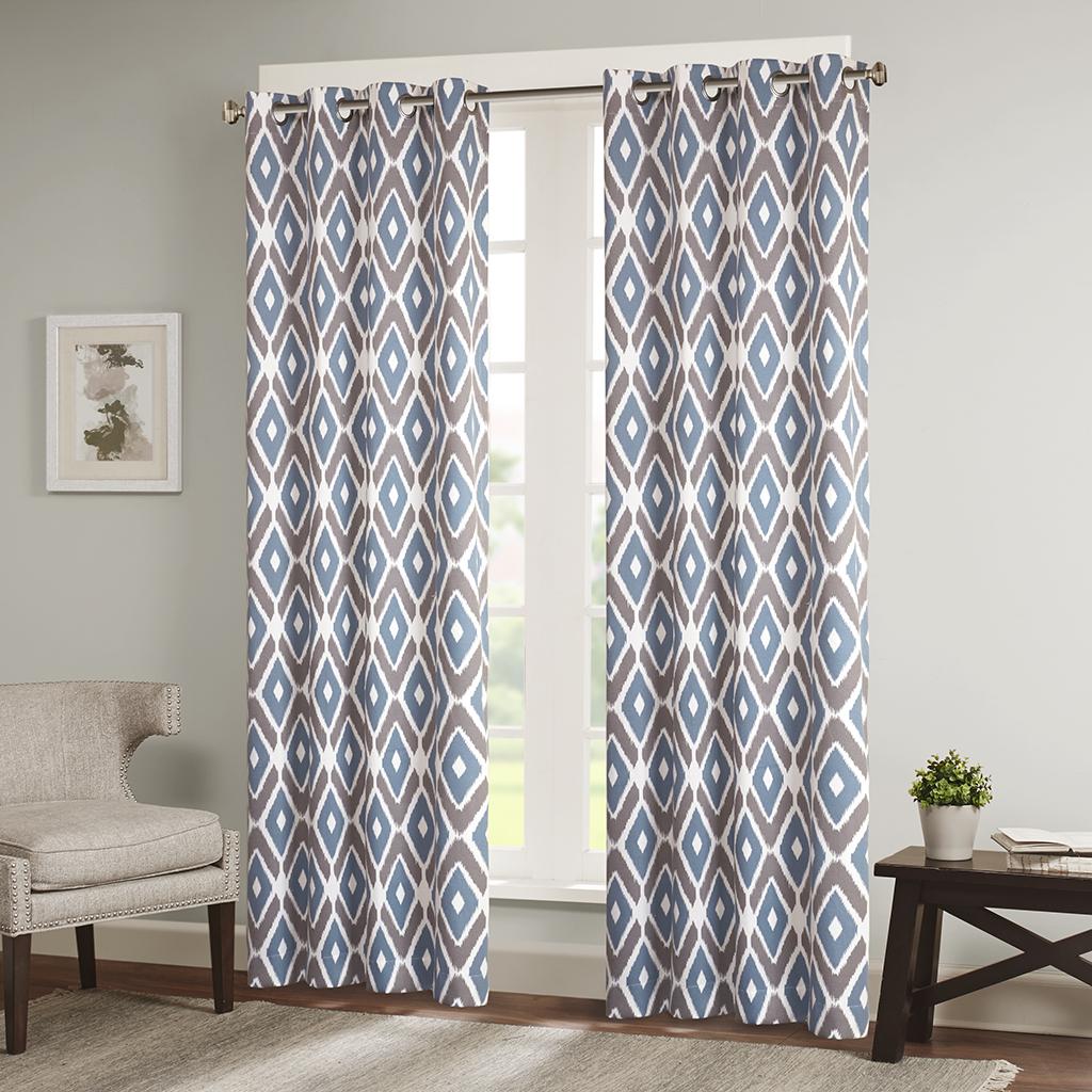 "Madison Park - Ashlin Diamond Printed Window Curtain - Navy - 63"" Panel"