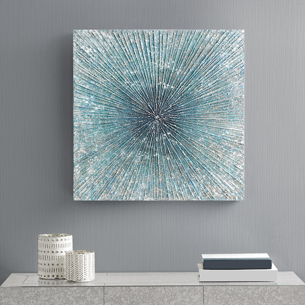 Madison Park - Bursting Blue Star Heavy Textured Glitter Embellished Abstract Square Canvas - Blue - See below