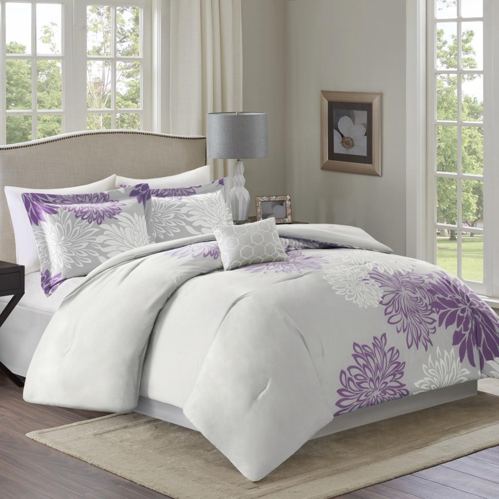 Comfort Spaces - Enya 5 Piece Comforter Set - Purple - King