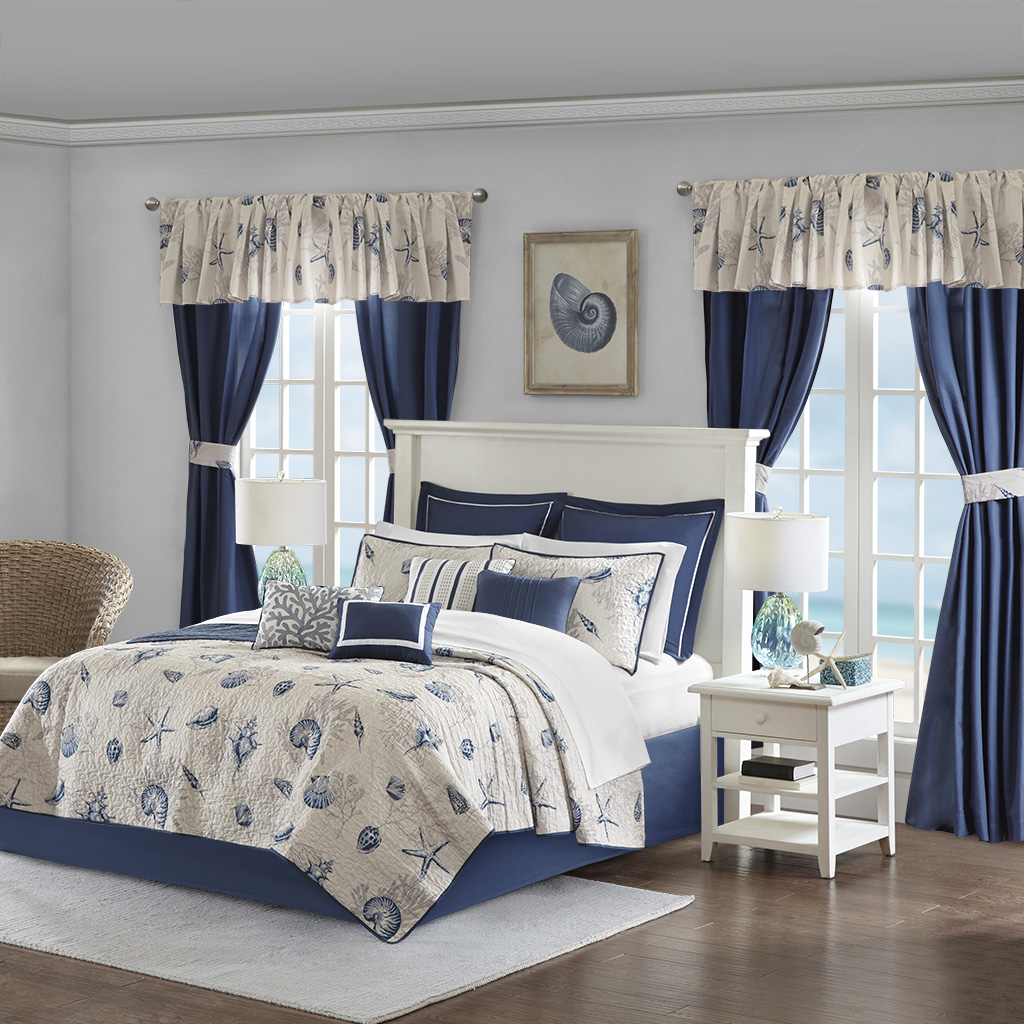Madison Park Essentials - Fairhaven 24 Piece Coverlet Room in a Bag - Blue - King