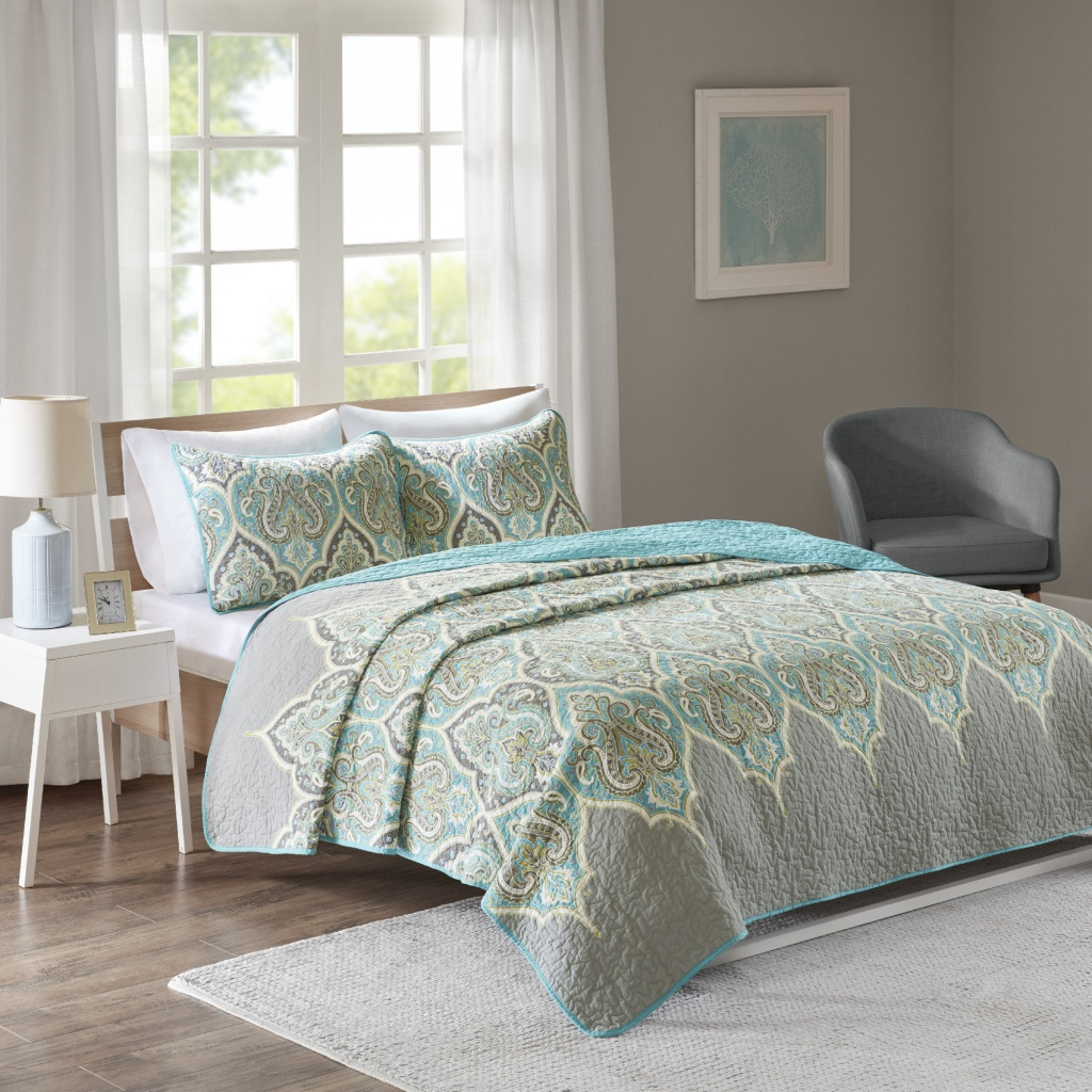 Comfort Spaces - Mona 3 Piece Reversible Cotton Printed Coverlet Set - Teal/Grey - Full/Queen