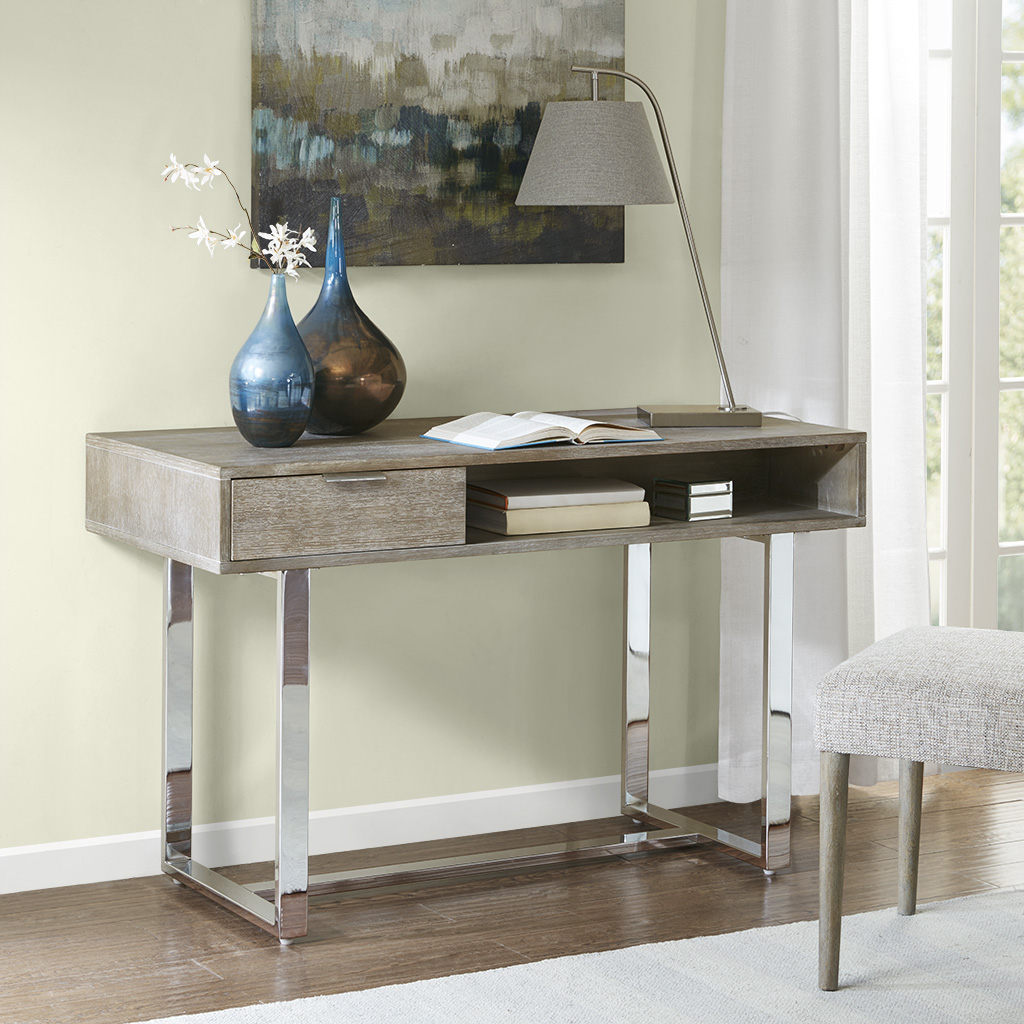 Madison Park - Lynn Writing Desk - Brown/Silver - See below
